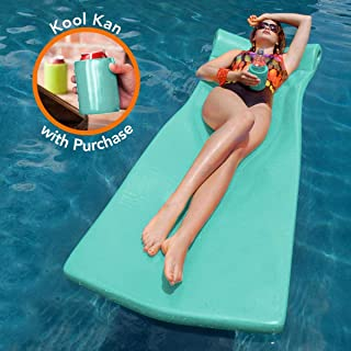 "product image for TRC Recreation Texas Recreation Kool Float 1.75"" Thick Swimming Pool Foam Pool Floating Mattress with Bonus Kool Kan, White, Mint"
