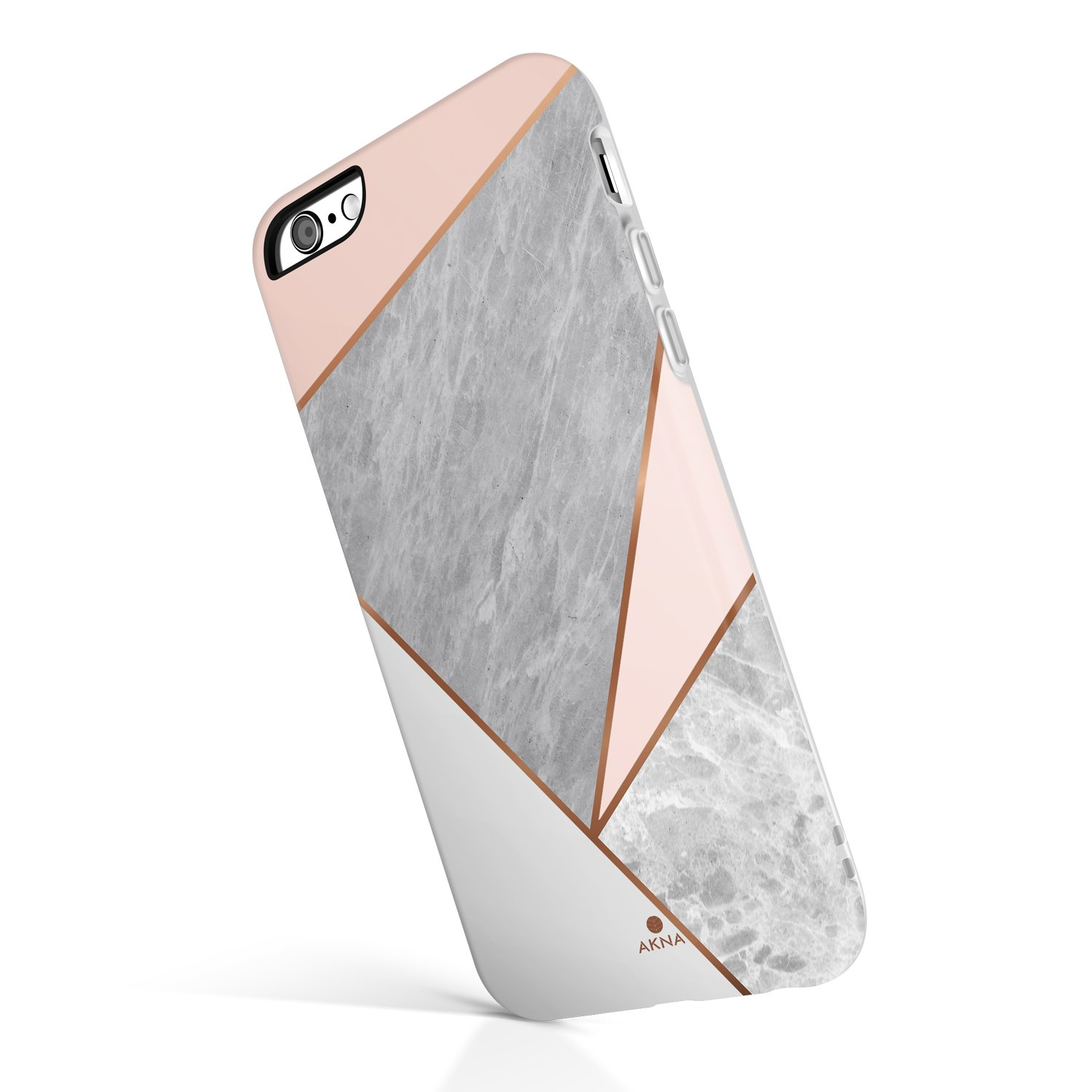 iPhone 6/6s case Marble, Akna Collection High Impact Flexible Silicon Case for Both iPhone 6 & iPhone 6s [Pink Marble Geometric] (920-U.S)
