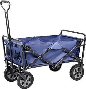 Xilin Folding Wagon Cart , Outdoor Garden Cart Foldable Wagon for Sports, Shopping, Camping, Portable Large Capacity Beach Wagon, Color Blue,Upgrade tyre