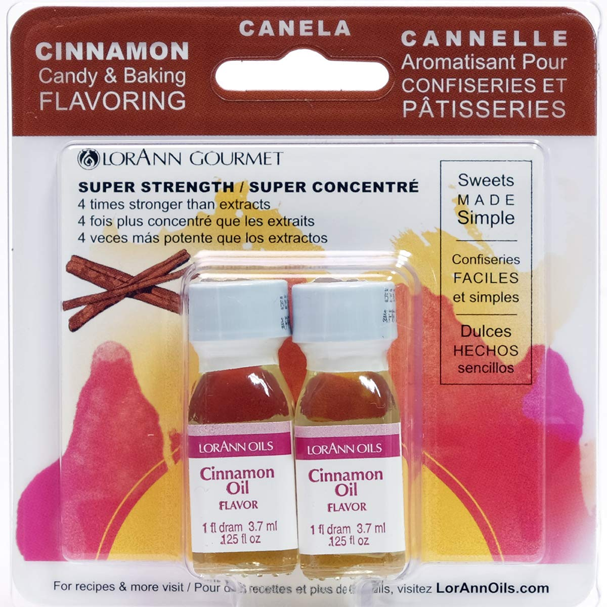 LorAnn Cinnamon Oil Super Strength Flavor, 1 dram bottle (.0125 fl oz - 3.7ml) Twin pack blistered