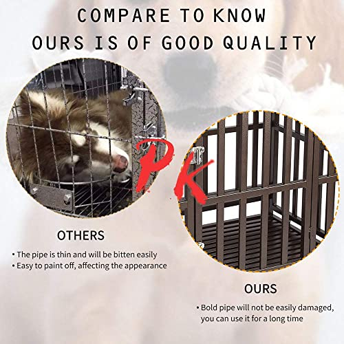 Haige Pet Your Pet Nanny 46 Heavy Duty Dog Crate Cage Strong Metal Kennel for Large Dogs Easy to Assemble with Two Prevent Escape Lock and Four Lockable Wheels