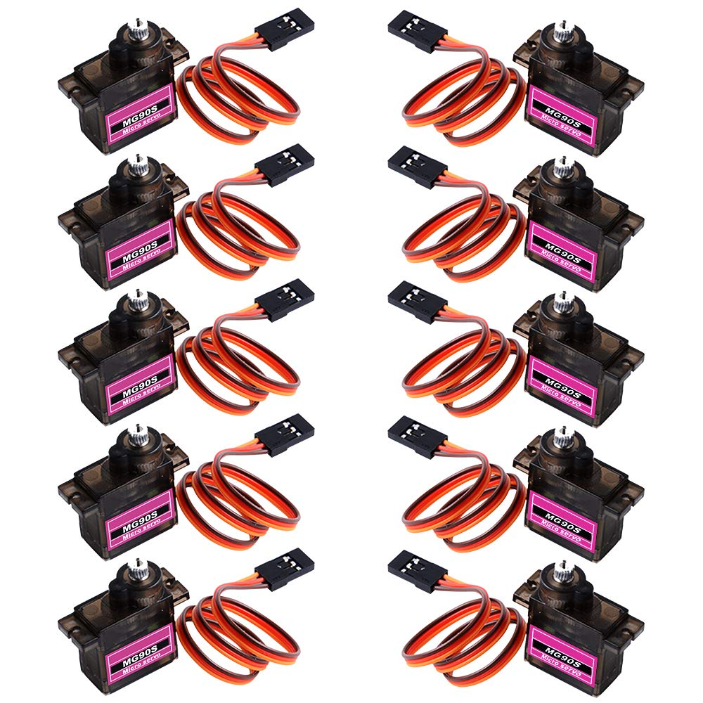6Pcs MG90S Micro Servo Motor Metal Geared for Smart Robot Car Helicopter Boat