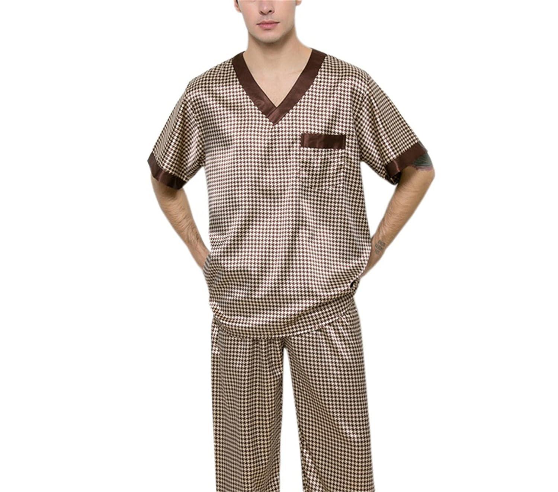 Wigeo Mes Summer Casual Pijama Masculino Short Satin Silk Pajamas Two Sets with Pants XXL