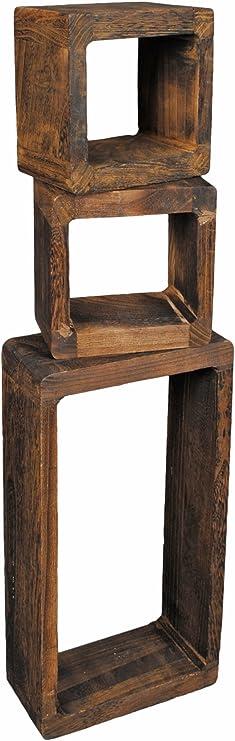 Mensola legno a cubo set 3pz noce