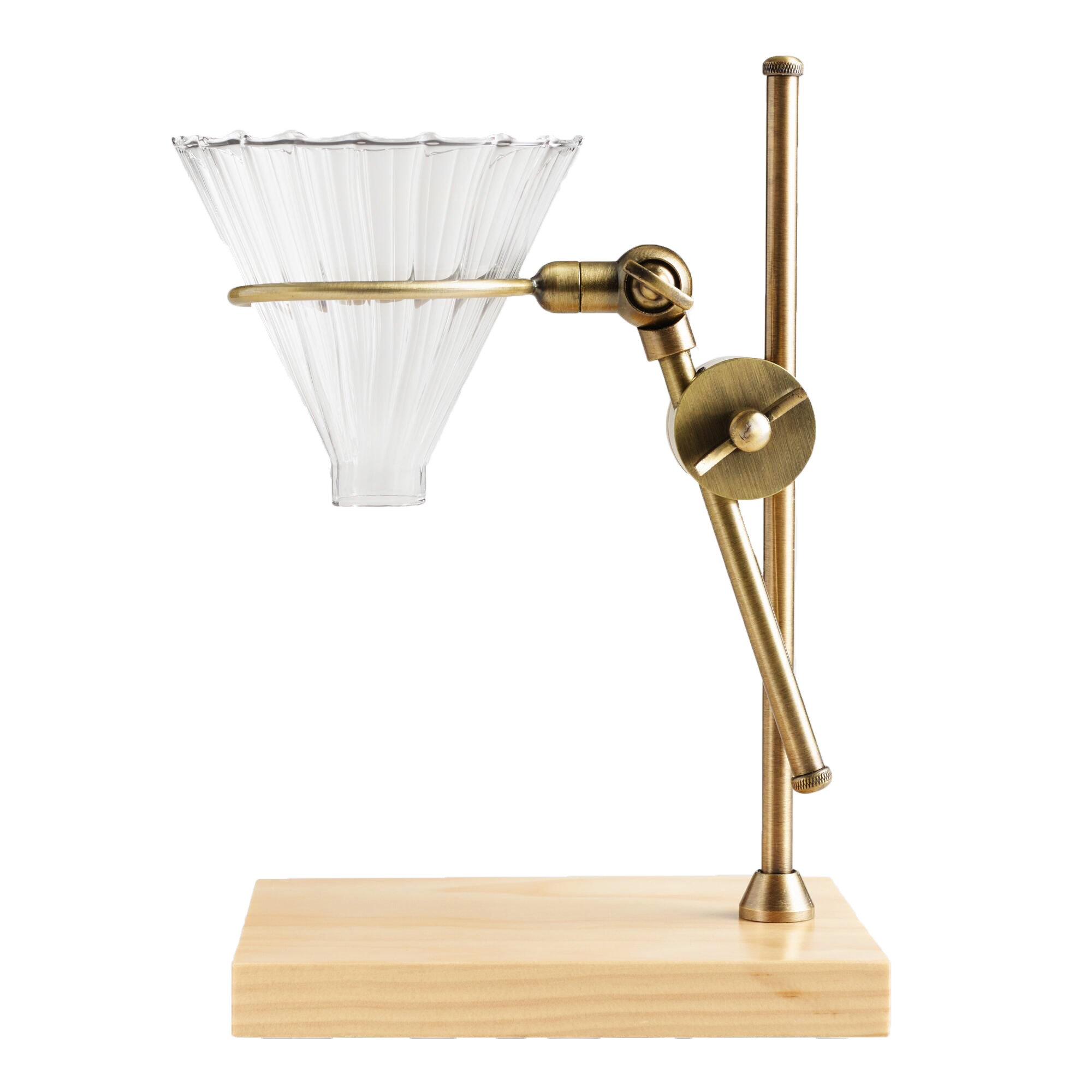 Brass Pour Over Coffee Dripper - with Wood Base Stand - Produces Flavorful Cups of Cafe Quality Coffee - Wonderful Presents for Coffee Connoisseurs, Coffee Lovers for Best Coffee Experience by WM