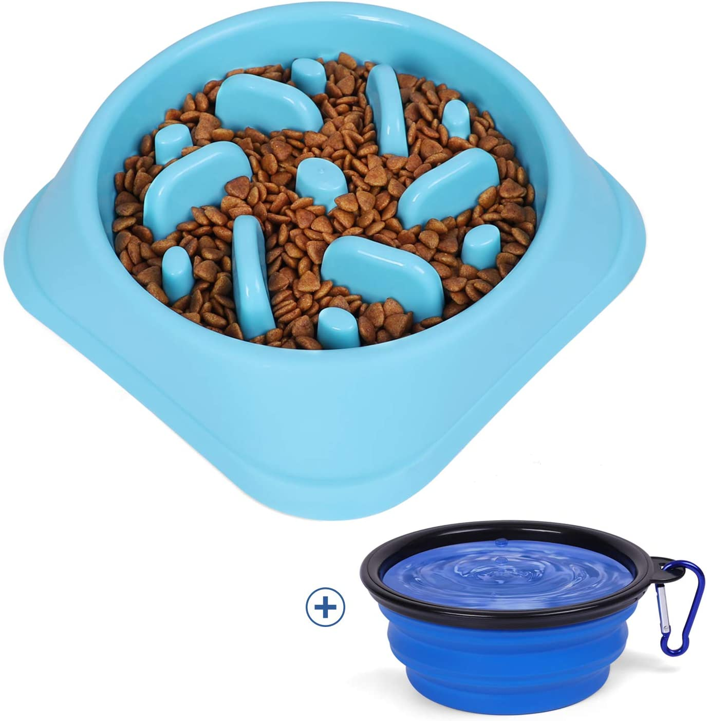 JASGOOD Slow Feeder Dog Bowl with Collapsible Dog Bowl-Puppy Puzzle Dog Food Bowl,Slow Eating Dog Bowl for Medium Dogs