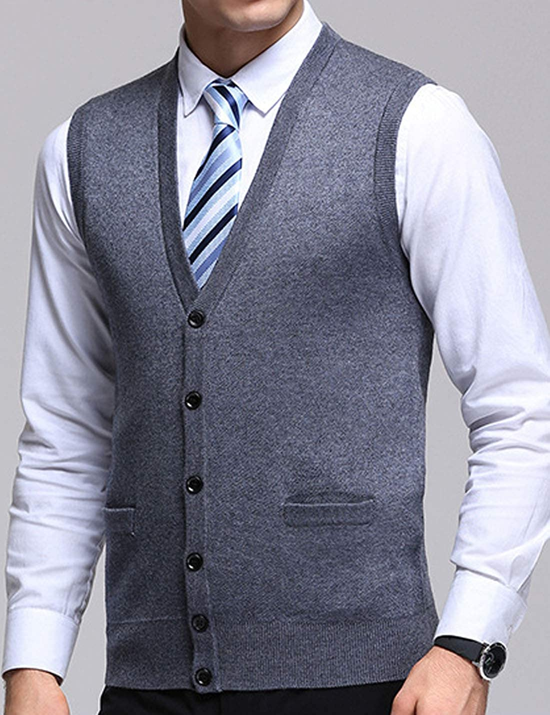 Flygo Mens Basic V-Neck Wool Sweater Vest Knitwear with Button Front Pockets