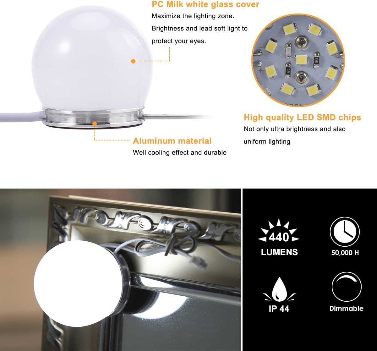 Hollywood Style Miroir de maquillage lumi/ère LED kit S /& G Super Star Style LED Miroir ampoules 8/ampoules avec adaptateur