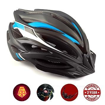 Casco Bicicleta con LED, Kinglead Protección de Seguridad Ajustable ...