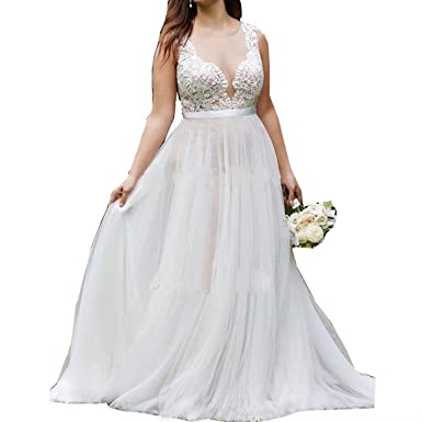 08877e3a58a LovelyGirl Women s Sexy Plus Size Wedding Dresses Round Neck Bridal Gowns  Outdoor Prom Gown JA062 at Amazon Women s Clothing store