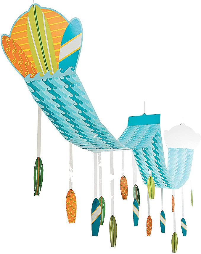 Fun Express Surf's Up Waves Ceiling Decor for Birthday - 12 feet Long - Beach and Pool Party Hanging Decor