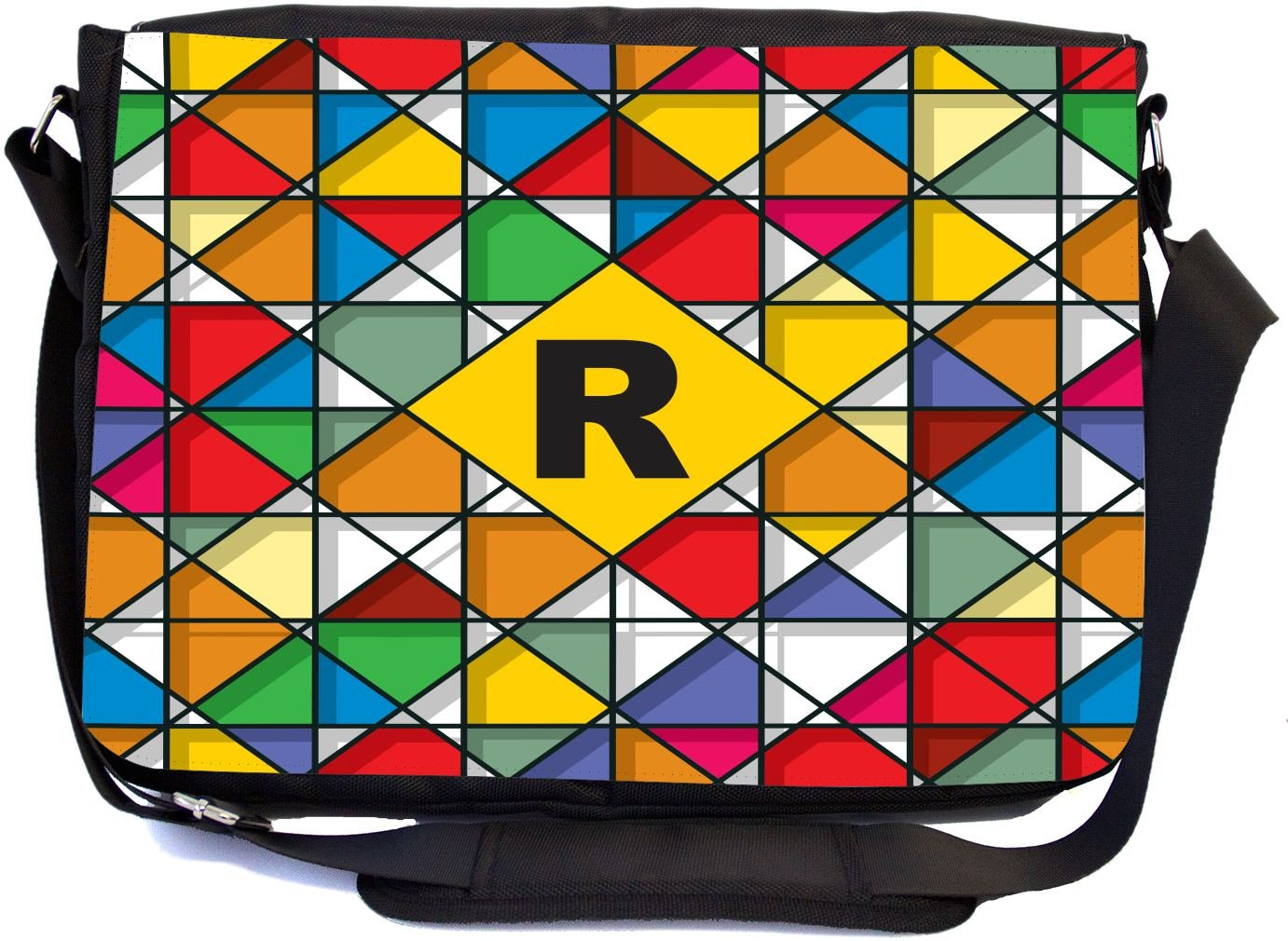 Rikki Knight Letter R Monogram Vibrant Colors Stained Glass Design Design Combo Multifunction Messenger Laptop Bag - with Padded Insert for School or Work - Includes Wristlet & Mirror