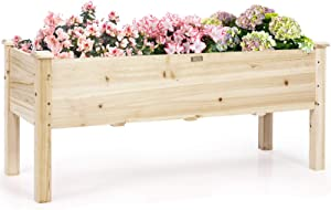 Giantex Raised Garden Bed, Wood Planter Box with Legs, Drain Holes, Elevated Garden Bed for Vegetables, Standing Garden Container Planter Raised Beds for Backyard, Patio