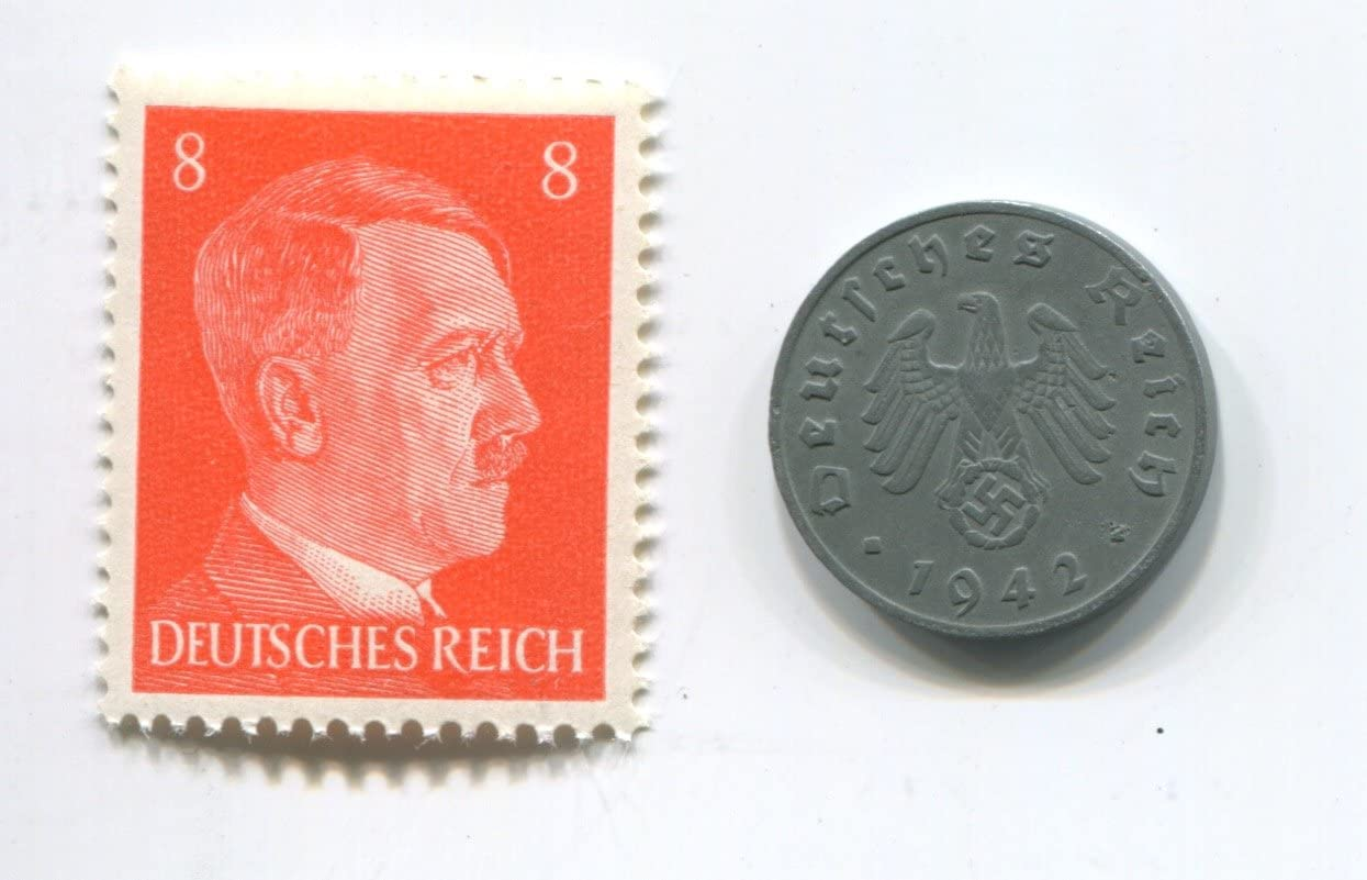 Set of Germany coin 2 pfennig and stamp with Swastika 12