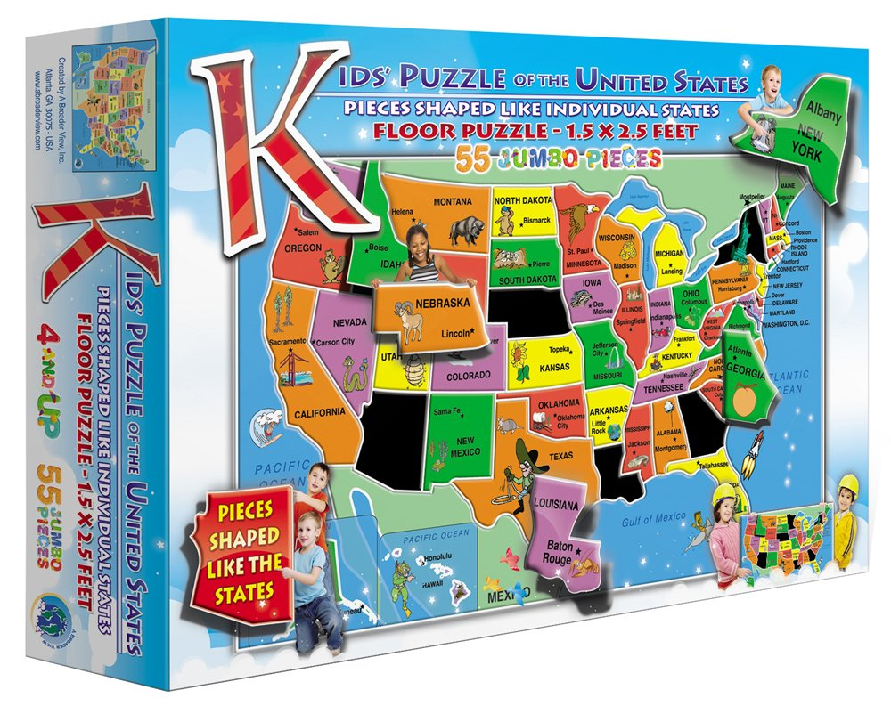 Amazoncom Kids Puzzle Of The USA  Piece Toys  Games - Map usa states drag and drop
