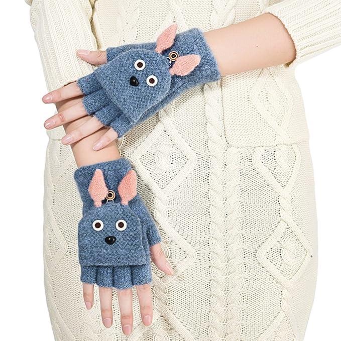 Winter Halbfinger Handschuhe Fingerlose Fäustling Fäustlinge Damen ...
