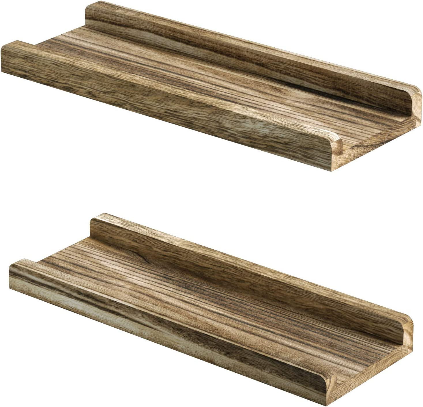 Love-KANKEI Floating Shelves Wall Mounted Set of 2 Rustic Wood Wall Shelves for Bedroom Living Room Bathroom Kitchen Office and More Carbonized Black