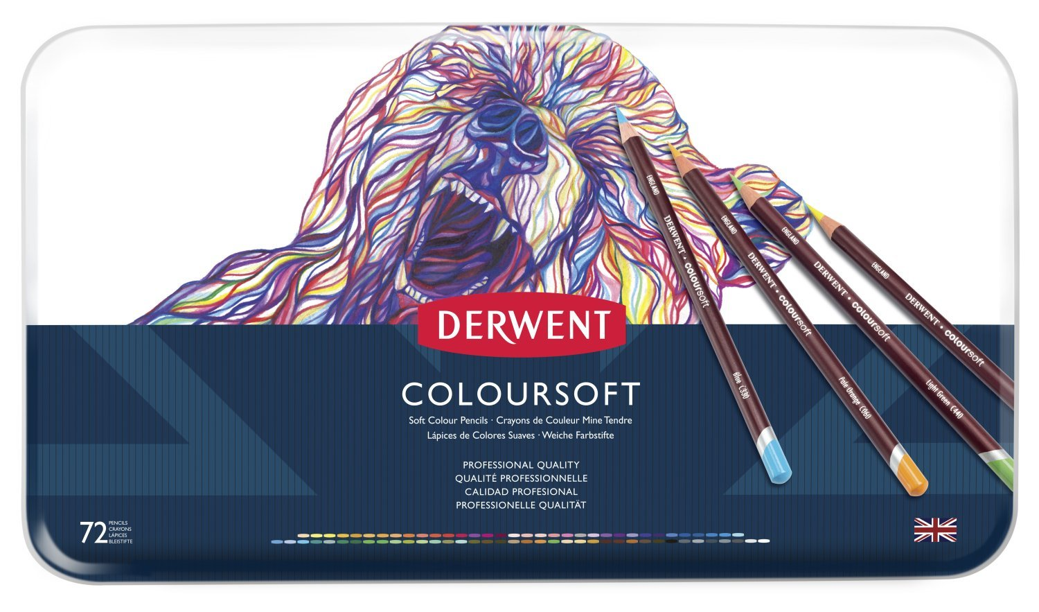 Derwent Colored Pencils, Colorsoft Pencils, Drawing, Art, Metal Tin, 72 Count (0701029) by Derwent