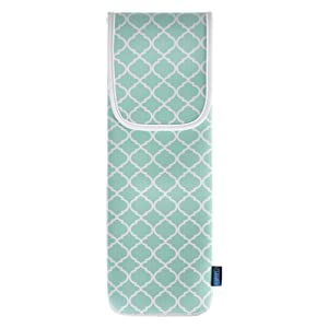 Bluecell Water-resistant Neoprene Curling Iron Holder Flat Iron Curling Wand Travel Cover Case Bag Pouch 15 x 5 Inches (Aqua Blue)