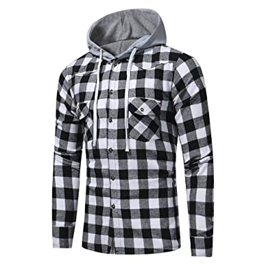 Hot New! Lattice Hoodie,Mens Casual Cotton Plaid Printed Hooded Jacket Plus Size Slim