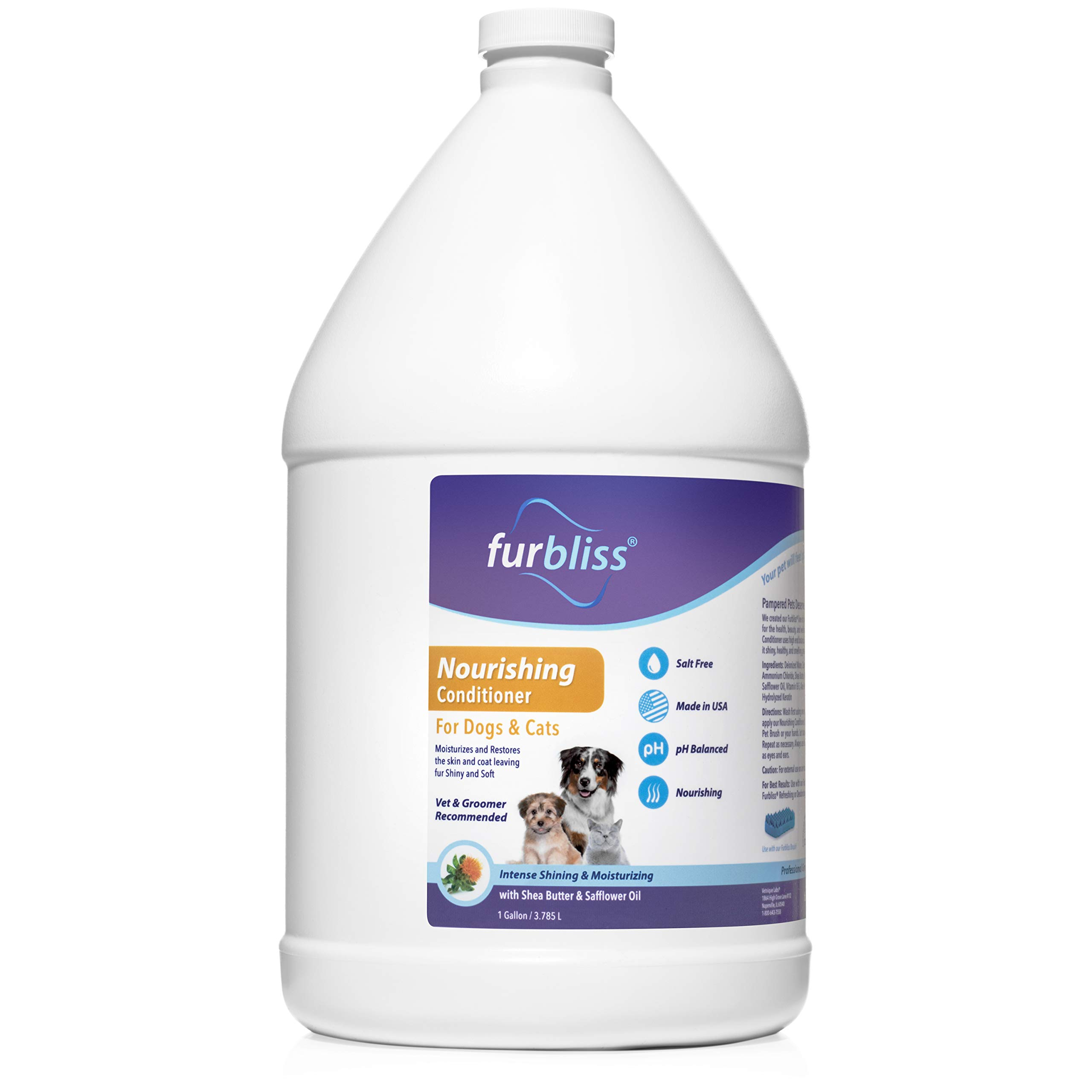 Furbliss Nourishing Dog and Cat Conditioner - Intense Shine & Moisturizing Detangler with Shea Butter & Safflower Oil (Gallon)