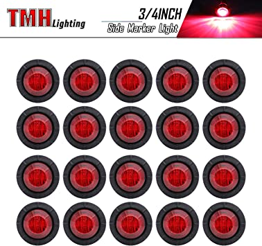 Pack of 10 Meerkatt 3//4 inch Small Round Clear Lens 5 Amber 5 Red Special Generation Side LED Marker Indicators Lights Clearance Lamp Ship Boat Trailer Van Bus Truck Camper RV 12V DC Waterproof