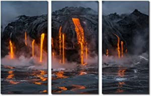 KLVOS - 3 Piece Canvas Wall Art Twilight Flow Sea View of Kilauea Volcano in Big Island Hawaii United States Modern Home Decor Stretched and Framed Ready to Hang - 16