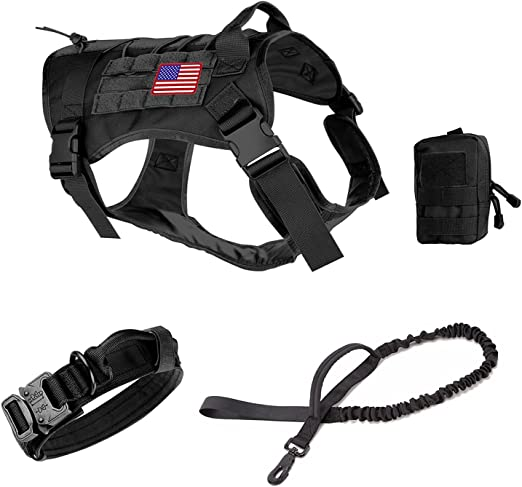 Pruk Tactical Dog Harness Set, K9 Dog Harness Military Dog Vest Collar Leash with Molle Pouch and Patch, No Pull Tactical Dog Vest for Large Dog, Service Dog Harness for Training Hiking(Black, M)