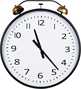Stratton Home Decor 24 Inch Twin Bells Clock Wall Décor, Extra Large, Black