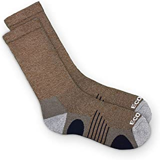 product image for EcoSox Bamboo Viscose Diabetic Non-Binding Hiking/Outdoor Crew Socks for Men & Women | Integrated Smooth Toe | Pillow Cushioning | Improve Foot Health w/Better Circulation (Large - Brown)