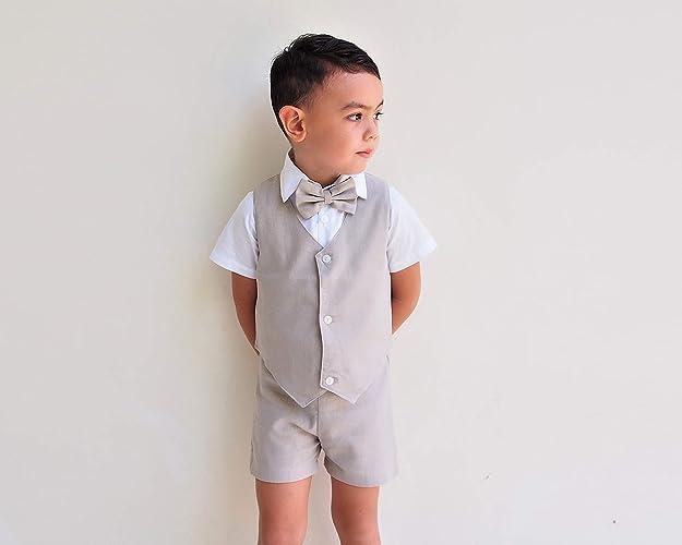 f04ffe1b7 Amazon.com: 4pcs Boy Linen Suit - Beige, Linen Pants, Boy Linen Outfit,  Pageboy, Christening Outfit, Ring Bearer outfit, Baptism outfit, ...
