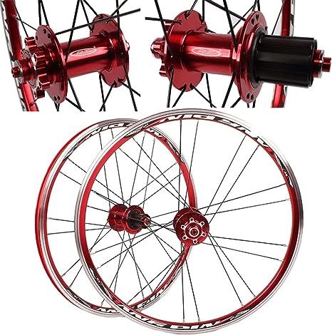 MZPWJD BMX Juego Ruedas Bicicleta 20 Pulgadas Rueda Bicicleta Llantas 406 451 Freno Disco En V Liberación Rápida para Casete 7/8/9/10 Velocidades Neumático 1.0-2.1: Amazon.es: Deportes y aire libre