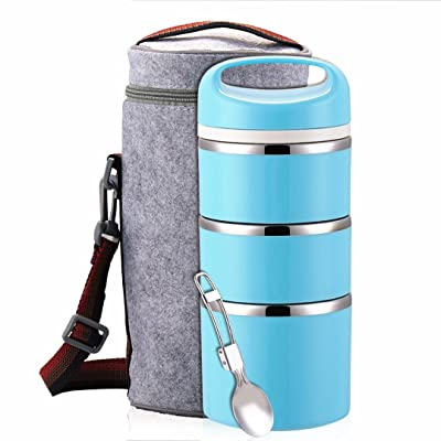Lille Home Stackable Stainless Steel Thermal Compartment Lunch Box | 3-Tier Insulated Bento Box/Food Container with Insulated Lunch Bag & Foldable Stainless Steel Spoon (Blue): Kitchen & Dining