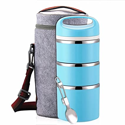 Lille Home Stackable Stainless Steel Thermal Compartment Lunch Box | 3-Tier Insulated Bento Box/Food Container with Insulated Lunch Bag & Foldable ...