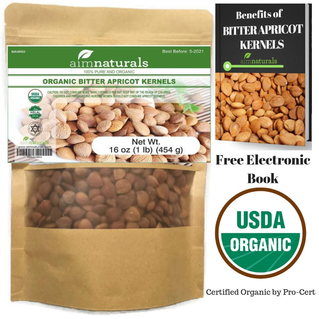 aimnaturals Organic USDA Certified Bitter Apricot Kernels LARGE (1LB) 160z 454G - 100% Organic Bitter Apricot Seeds (Free Electronic Book) - Made in Turkey by aimnaturals