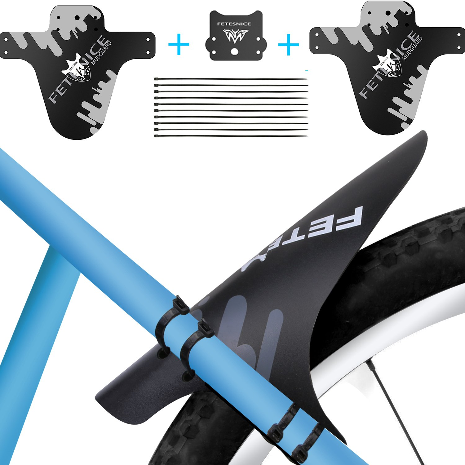 """Smiterl Mountain Bike Fender Kit,Mountain Bike Mud Guards, Adjustable Front Rear Compatible Bicycle Tire MTB Mud Guard Fender with 10 Cable Ties, Fit for 26""""27.5""""29"""" MTB Cycling"""
