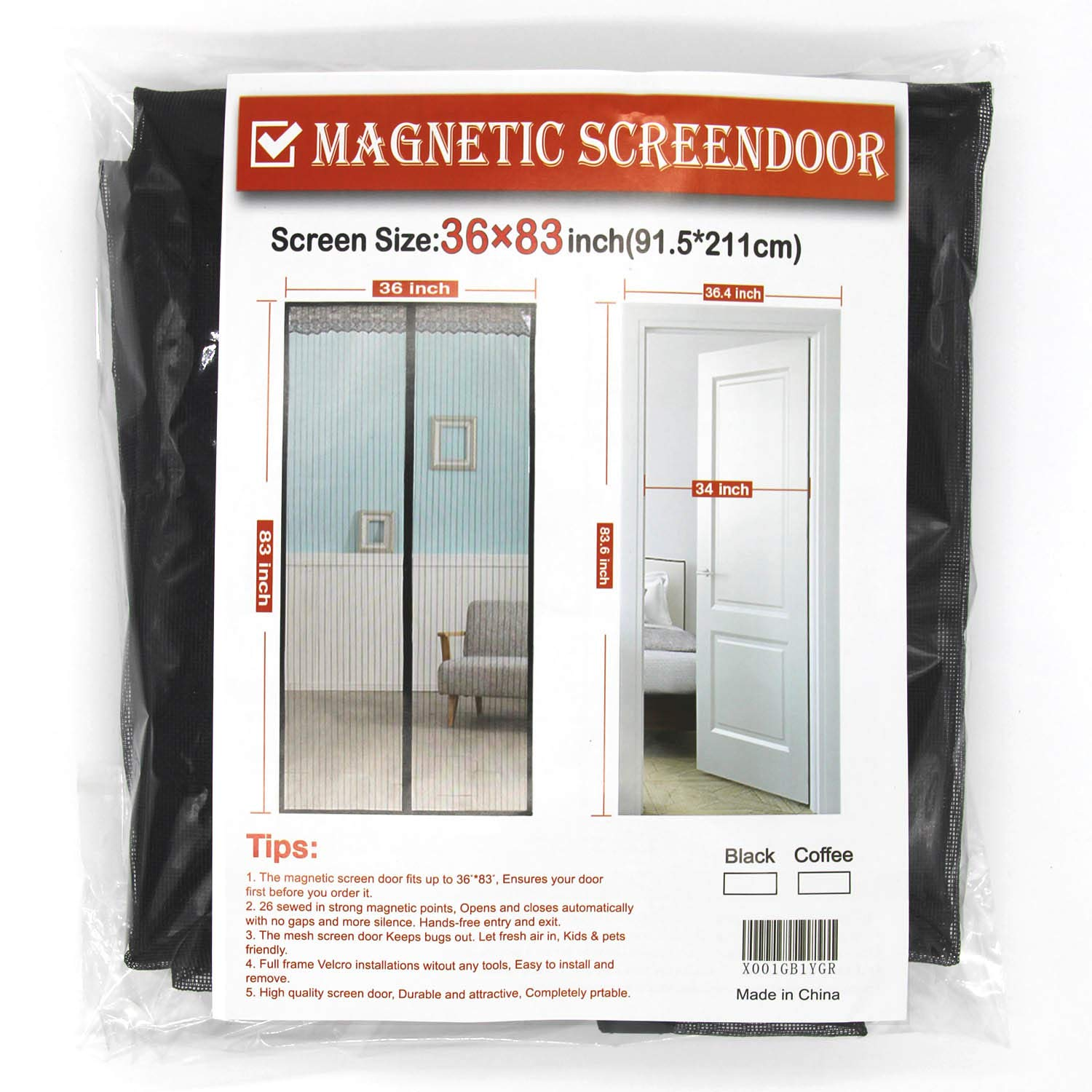 Magnet Screen Door, Fiber Screen Fit Doors Size up to Max with Full Frame Velcro Magic Screen Mosquito Mesh Keep Fly Bug Out(Gray, Good Light Transmission) (36x83)