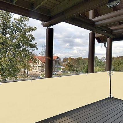 Recinzione per Balcone per Privacy 50x300cm Anti-UV Impermeabile Traspirante Telo Frangivista Balcone Facile Manutenzione con Fascette e funi per Recinzione di Giardino Beige