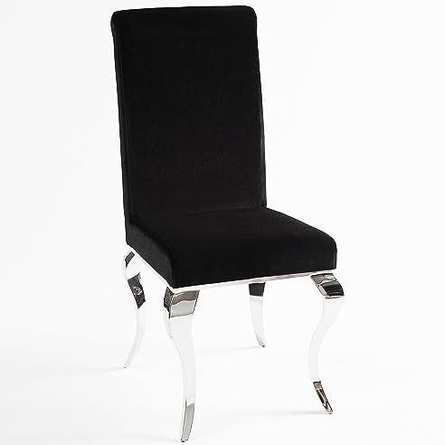Stuhl Modern Barock Schwarz Stuhlbeine Aus Edelstahl Mit Negro