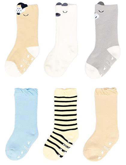 Adorel Baby Girls Anti-Slip Ankle Socks Pack of 6 for 1-3 Years