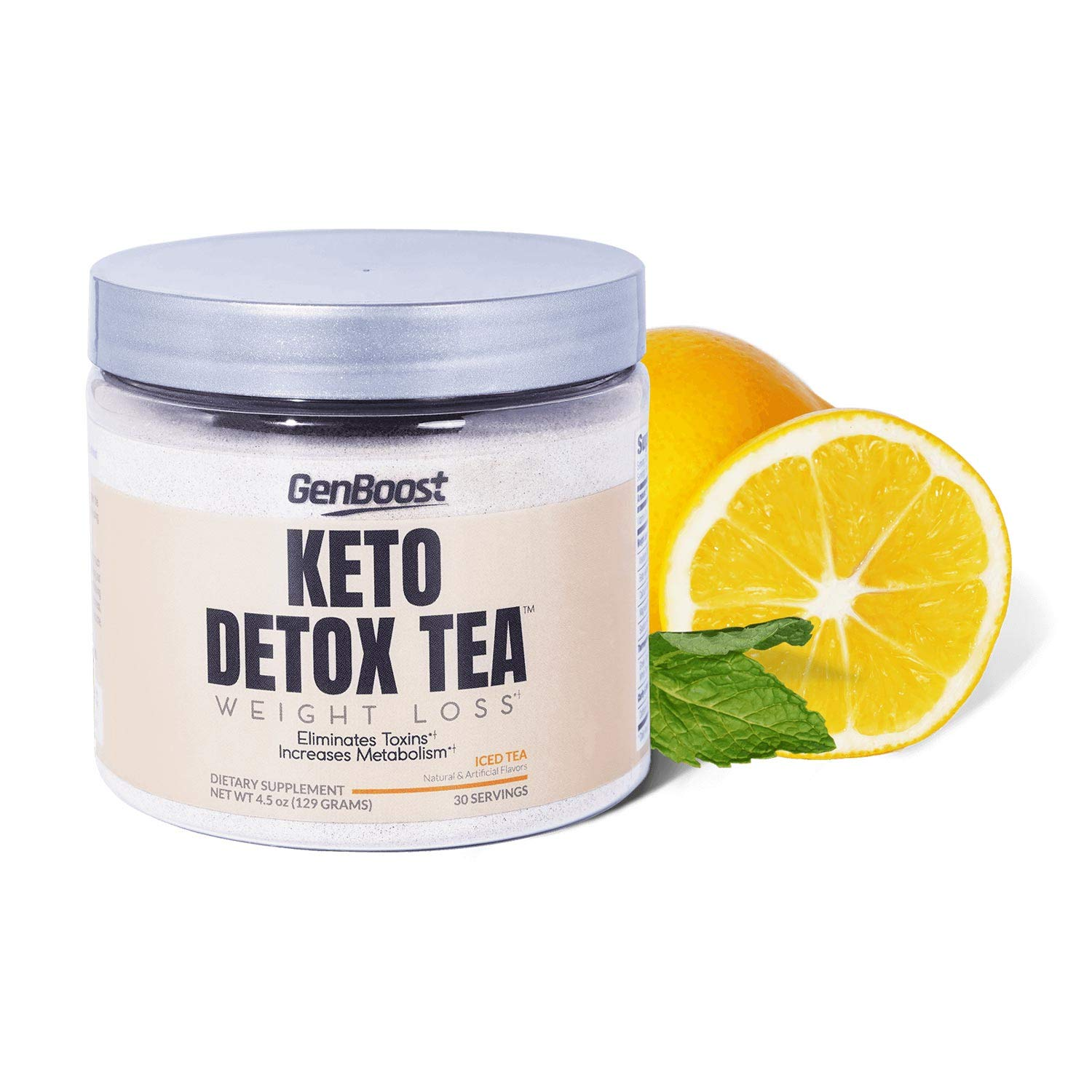 Keto Detox Tea Weight Loss - Exogenous Ketones/Keto & Paleo Diet Friendly - Powdered Iced Tea Support Metabolism & Cleanse & Ketosis - Green, Black, White Tea Extracts & Beta-Hydroxybutyrate BHB Salt by GenBoost