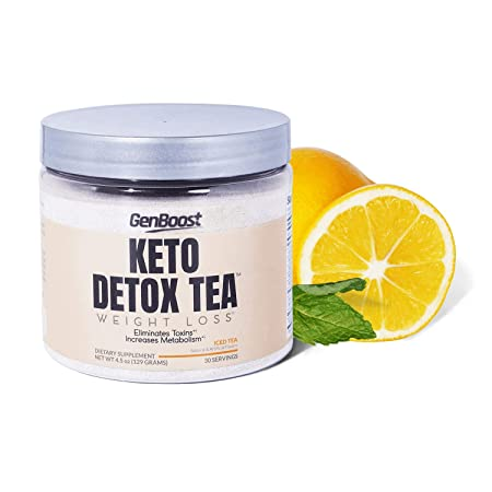 Keto Detox Tea Weight Loss – Exogenous Ketones Keto Paleo Diet Friendly – Powdered Iced Tea Support Metabolism Cleanse Ketosis – Green, Black, White Tea Extracts Beta-Hydroxybutyrate BHB Salt