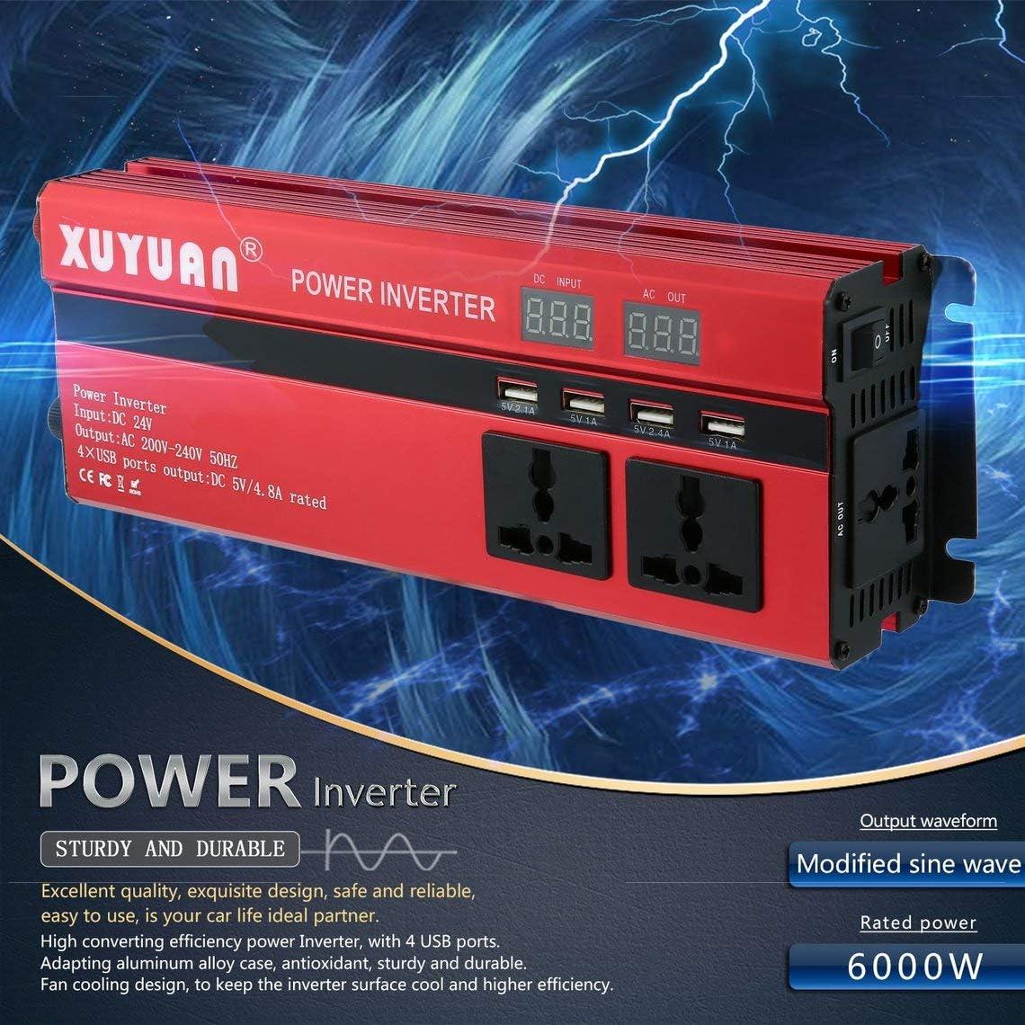 Zinniaya Professioneller Solar-Wechselrichter 6000 W DC 24 V auf AC 220 V LED-Display Sinuswelle f/ür Auto f/ür Haushaltsger/äte