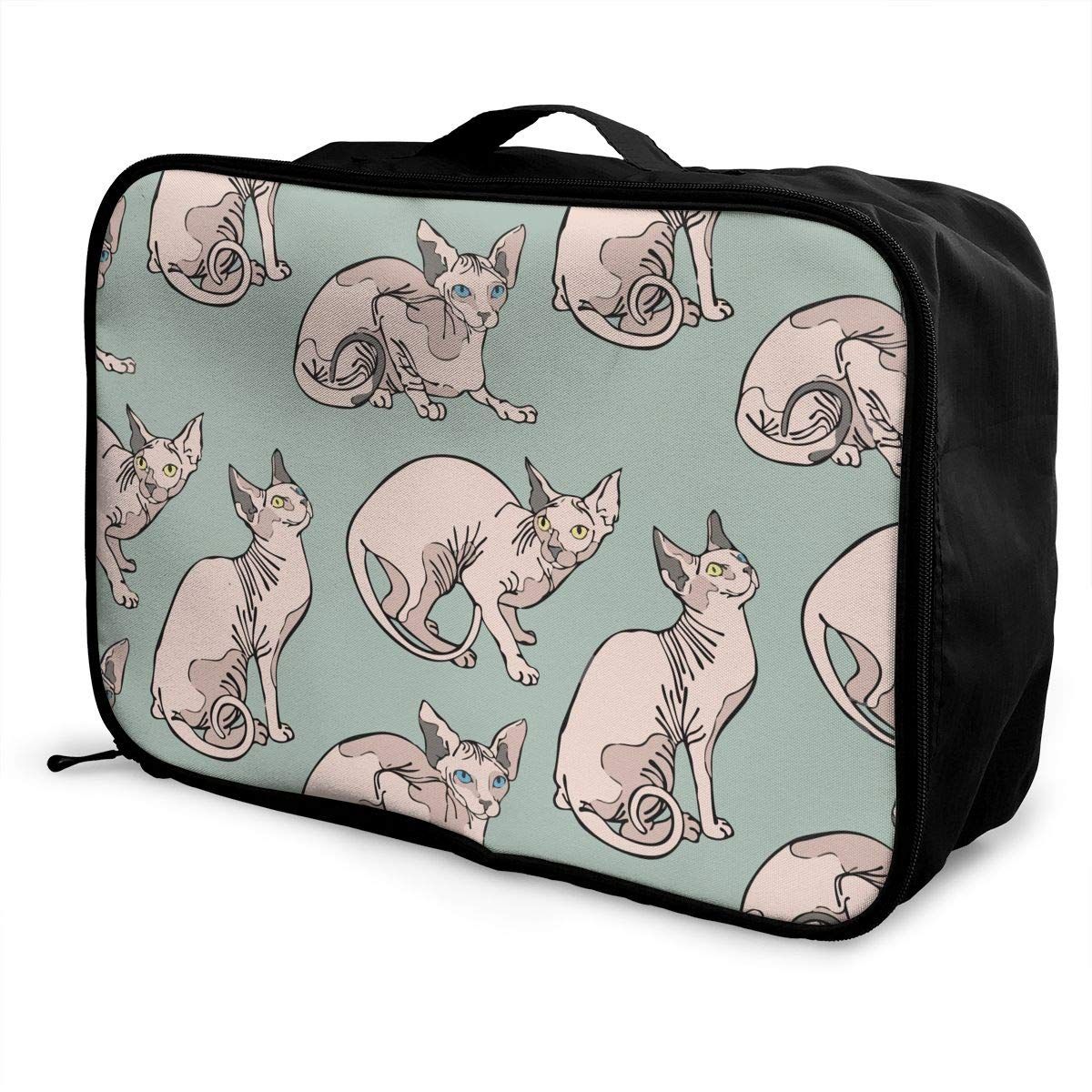 Lightweight Large Capacity Duffel Portable Luggage Bag Sphynx Cats Travel Waterproof Foldable Storage Carry Tote Bag