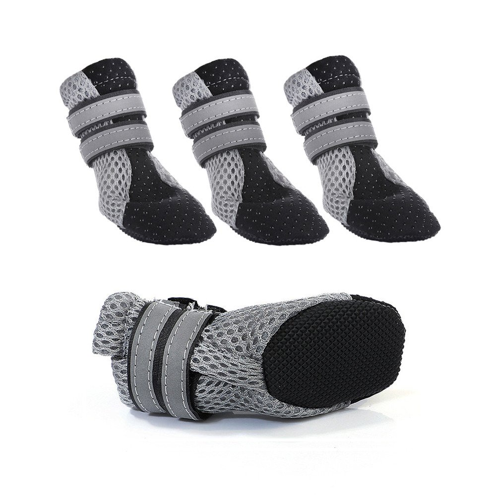 Ohkuu Pet Walking Shoes,Mesh Breathable Soft Non-Slip Dog Paw Protector Boots with Reflective Velcro For Small Dog like Poodle(Teddy)/Schnauzer/Pug/Welsh Corgi (M)