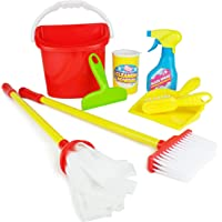 Boley Pretend Play Kids Cleaning Set - 8 Piece Toddler and Kid Toy Cleaning Kit with Mop and Broom Toys for Kitchen Housekeeping
