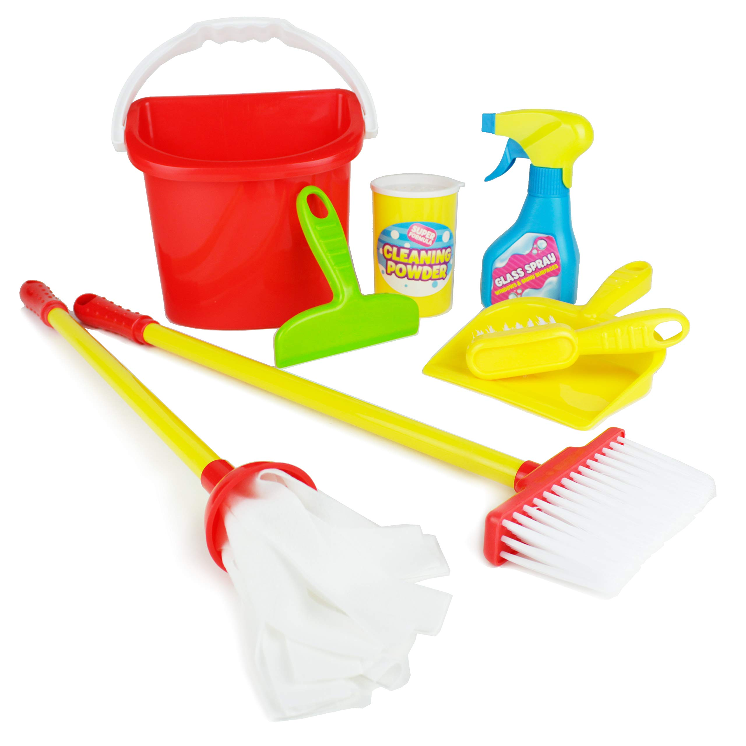 Boley Pretend Play Cleaner's Play Set and Cleaning Supplies - Perfect for Toddler Education and Kids Learning Development - Includes Mop, Broom, Spray Bottle, and More! by Boley