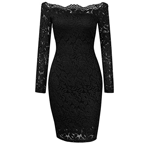 Yidarton Womens Off Shoulder Lace Dress 3/4 Sleeve Vintage Cocktail Formal Bodycon Dresses Black
