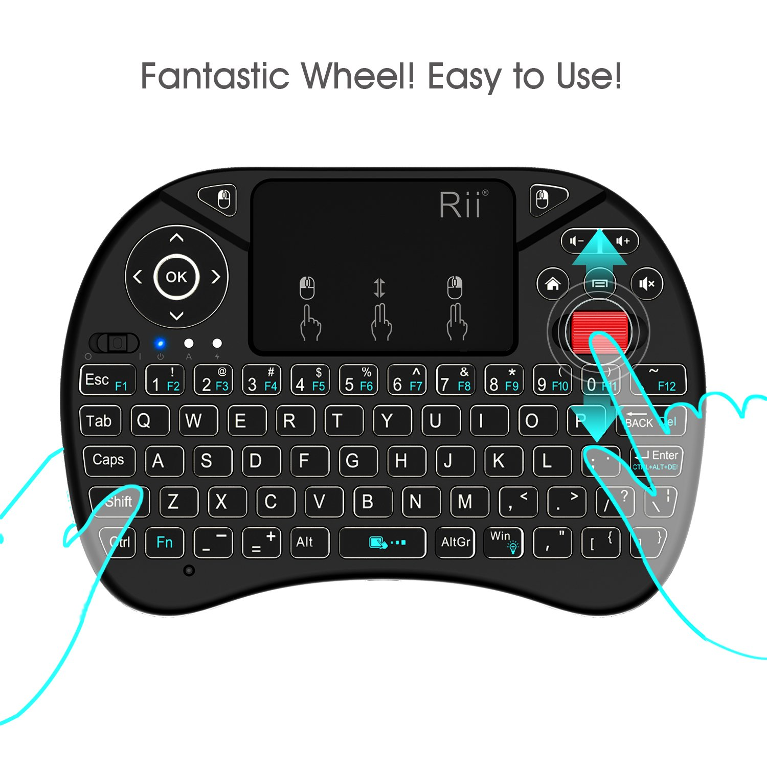 2018 Rii i8X 2.4GHz Mini Wireless Keyboard with Touchpad Mouse Combo, LED Backlit,Rechargeable Li-ion Battery-Black by Rii (Image #3)