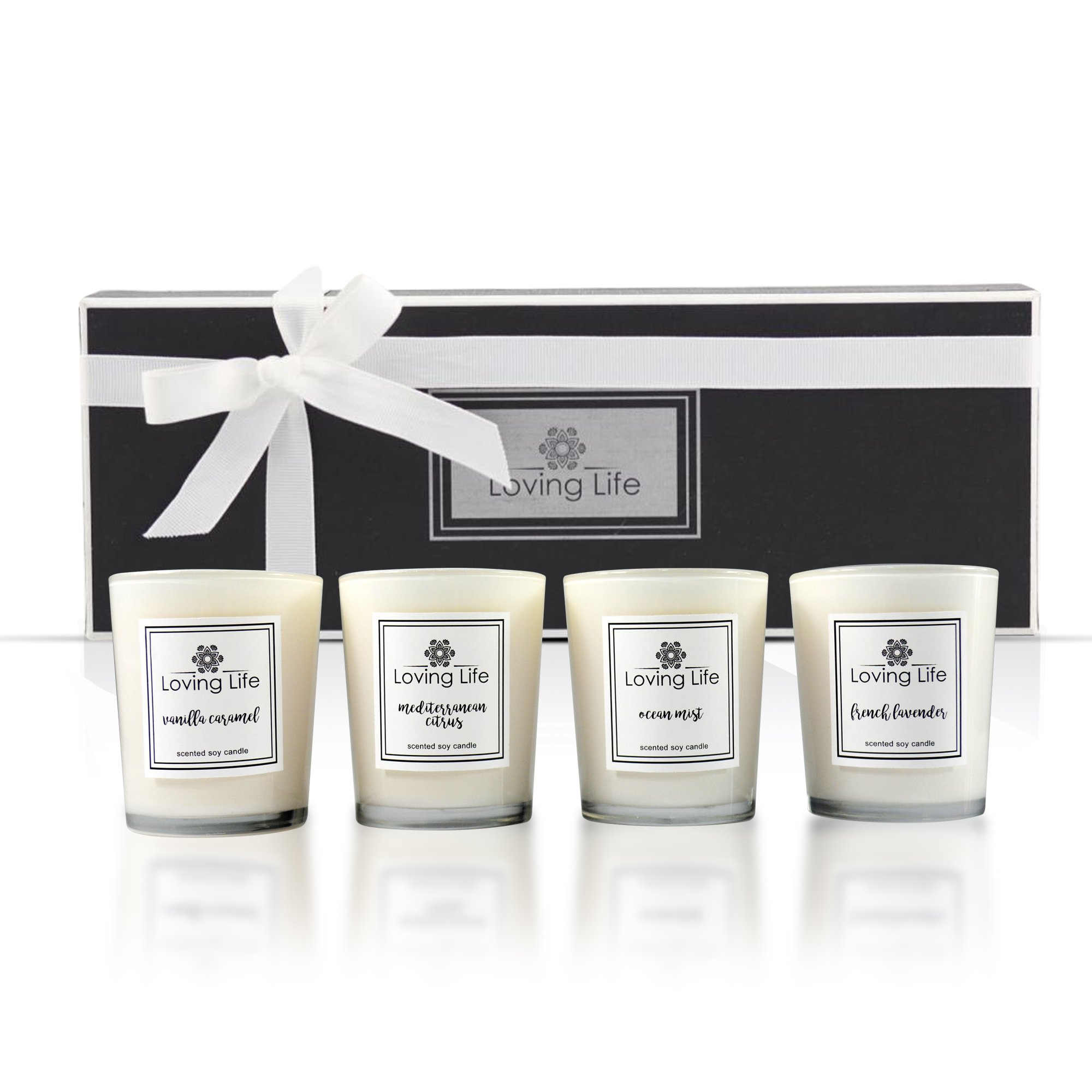 Scented Votive Candle Gift Set Natural Soy Wax Candles (Lavender, Citrus, Ocean Mist and Vanilla Caramel) for Relaxation - 4 x 2.8 Oz/80g